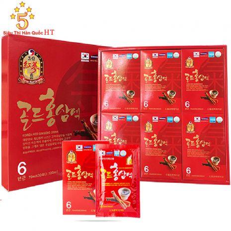 Hồng Sâm Dạng Nước Hộp Đỏ In Hình Chén 70ml x 30 Gói Hàn Quốc